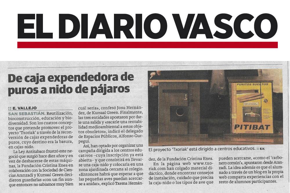 blog berriaren irudia: Txoriak en El Diario Vasco